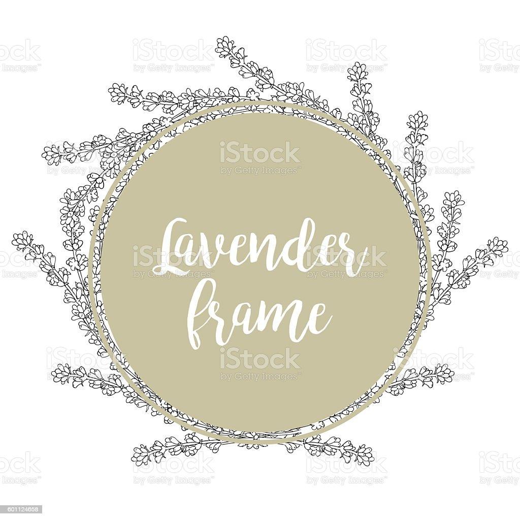 Lavender. Template of a circular frame.