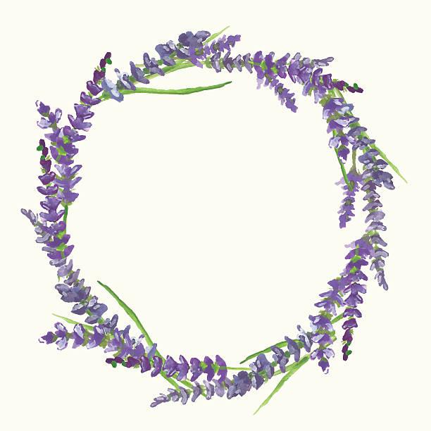 Lavender wreath, watercolor painting, illustration Lavender wreath on beige background in Provence style, watercolor painting, vector illustration, eps 10 lavender color stock illustrations