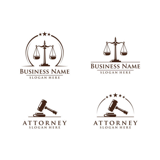 Law and Attorney Symbol, elegant Firm vector Design elegant Firm vector Design courthouse stock illustrations