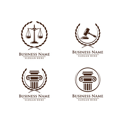 Law And Attorney Symbol Elegant Firm Vector Design Stock Illustration - Download Image Now