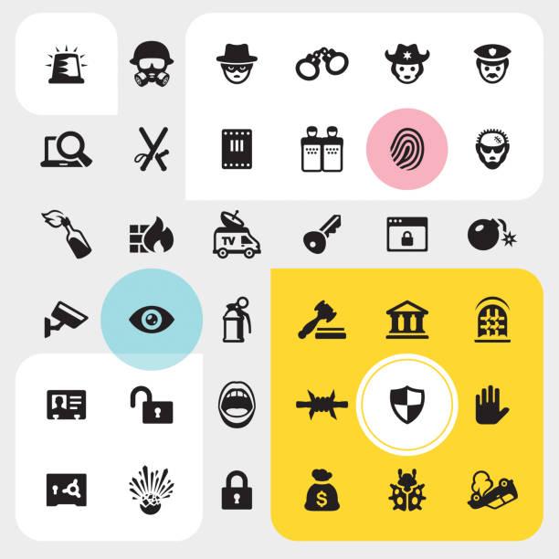法と犯罪のアイコンを設定 - id盗難点のイラスト素材/クリップアート素材/マンガ素材/アイコン素材