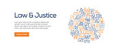 Law and Justice Banner Template with Line Icons. Modern vector illustration for advertisement, header, website.
