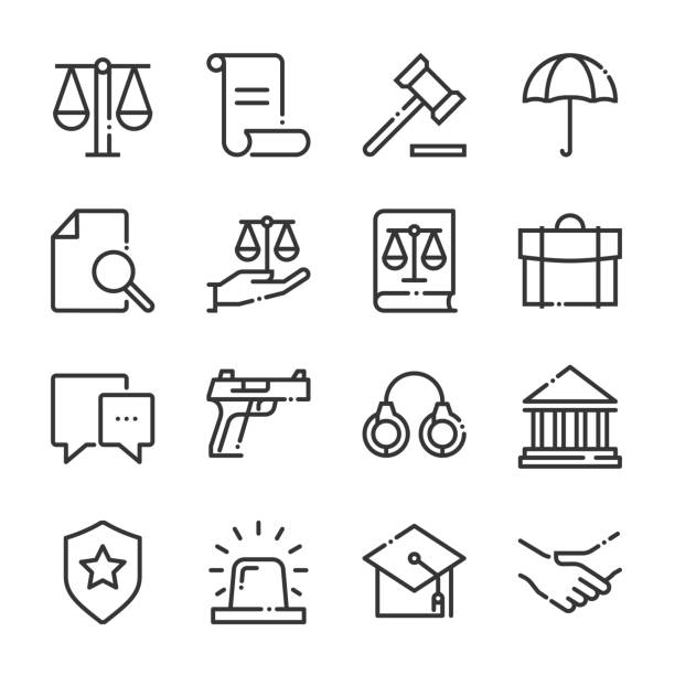 Law and justice bold line icon set Law and justice bold line icon set. The set is about signature, conversation, security, approval, certificate, certification, mail, achievement, vector, editable stroke, line, outline. punishment stock illustrations