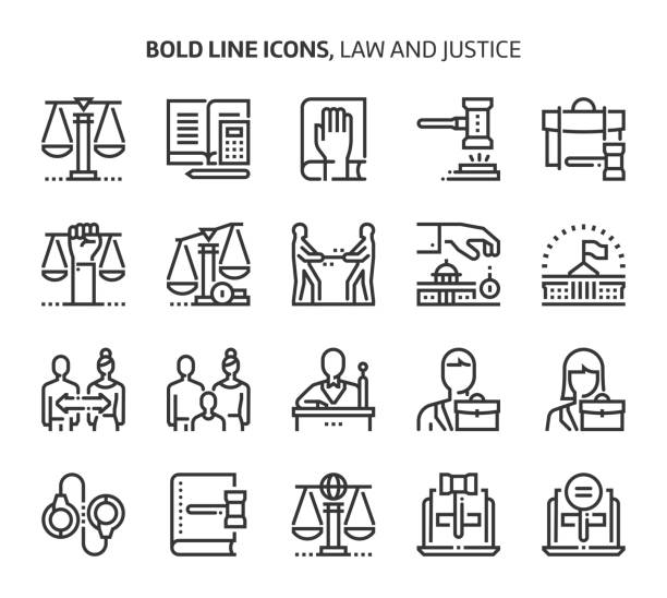 Law and justice, bold line icons vector art illustration
