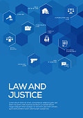Law and Justice. Brochure Template Layout, Cover Design