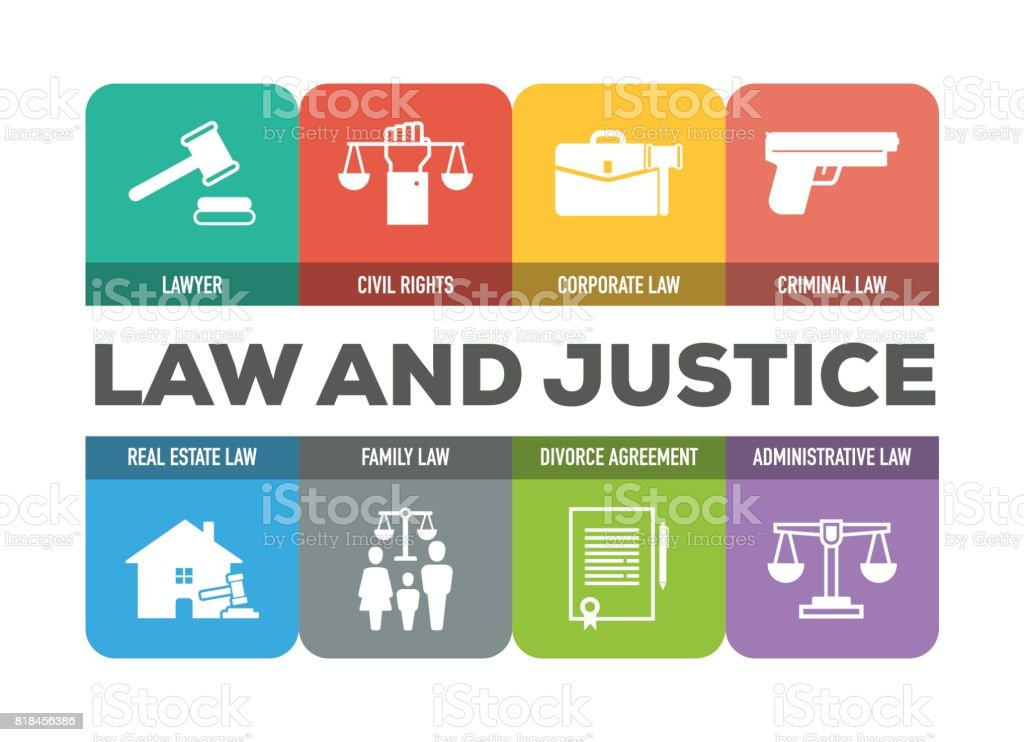 Law and Justice Colorful Icons Set vector art illustration