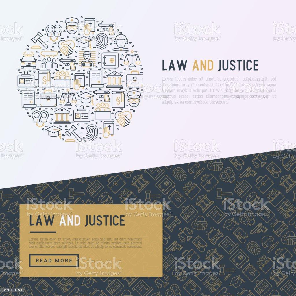 Concepto de derecho y la justicia en círculo con los iconos de la delgada línea: Juez, policía, abogado, huellas dactilares, jurado, acuerdo, testigo, escalas. Ilustración de vector de banner, página web, medios impresos. - ilustración de arte vectorial