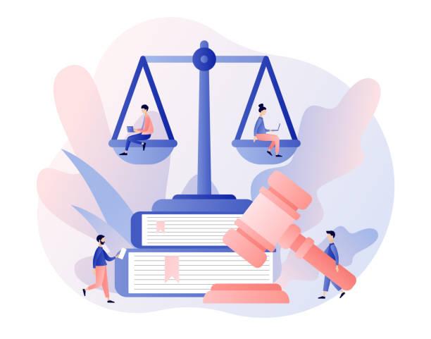 hukuk ve adalet kavramı. adalet terazisi, yargıç ve yargıç tokkan. yargıtay'daki minik insanlar. modern düz karikatür tarzı. vektör çizimi - supreme court stock illustrations