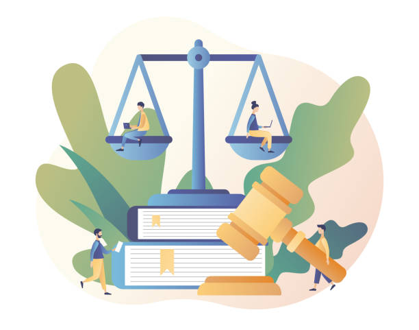 Law and Justice Concept. Justice scales, judge and judge gavel. Tiny people in the Supreme Court. Modern flat cartoon style. Vector illustration Law and Justice Concept. Justice scales, judge and judge gavel. Tiny people in the Supreme Court. Modern flat cartoon style. Vector supreme court stock illustrations
