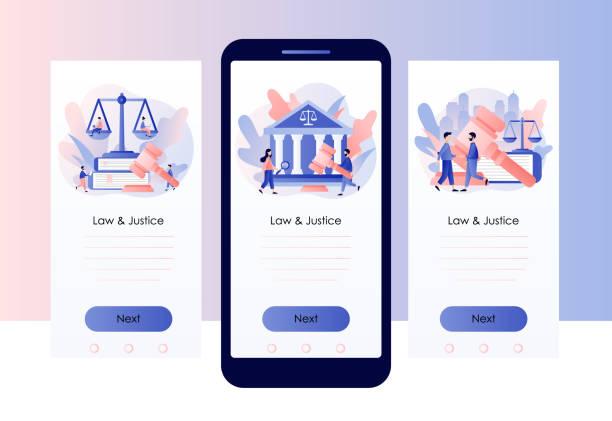 hukuk ve adalet kavramı. adalet terazisi, yargıç inşası ve yargıç toklamı. yüksek mahkeme. cep telefonu için ekran şablonu. modern düz karikatür tarzı. vektör çizimi - supreme court stock illustrations
