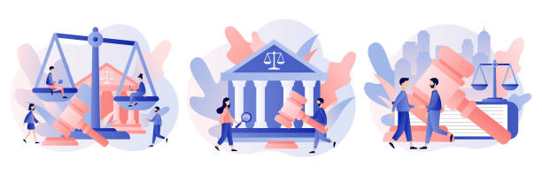 Law and Justice Concept. Justice scales, judge building and judge gavel. Supreme court. Modern flat cartoon style. Vector illustration Law and Justice Concept. Justice scales, judge building and judge gavel. Supreme court. Modern flat cartoon style. Vector lawyer stock illustrations