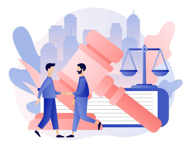 Law and Justice Concept. Justice scales, judge building and judge gavel. Tiny men make a deal. Supreme court. Modern flat cartoon style. Vector illustration Law and Justice Concept. Justice scales, judge building and judge gavel. Tiny men make a deal. Supreme court. Modern flat cartoon style. Vector supreme court stock illustrations