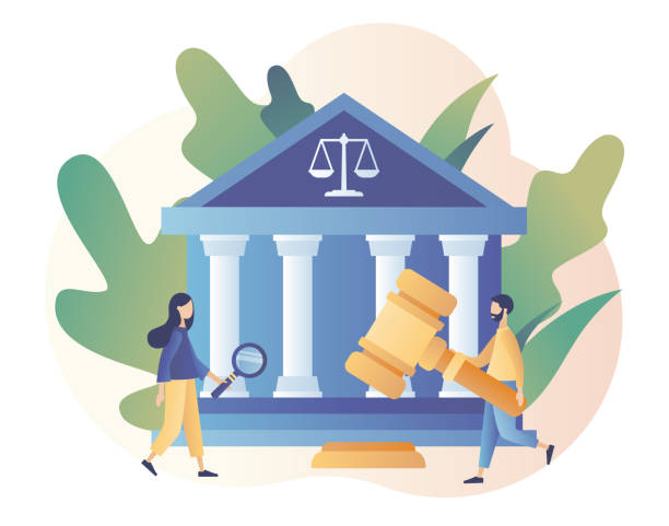 Law and Justice Concept. Justice scales, judge building and judge gavel. Supreme court. Modern flat cartoon style. Vector illustration Law and Justice Concept. Justice scales, judge building and judge gavel. Supreme court. Modern flat cartoon style. Vector supreme court stock illustrations