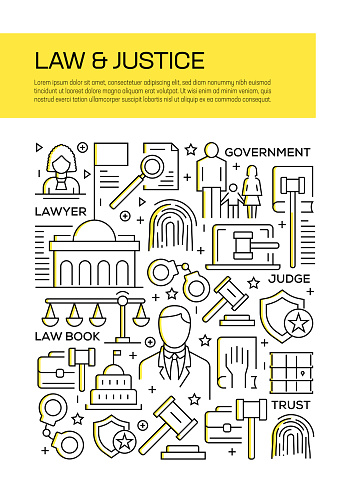 Law and Justice Concept Line Style Cover Design for Annual Report, Flyer, Brochure.