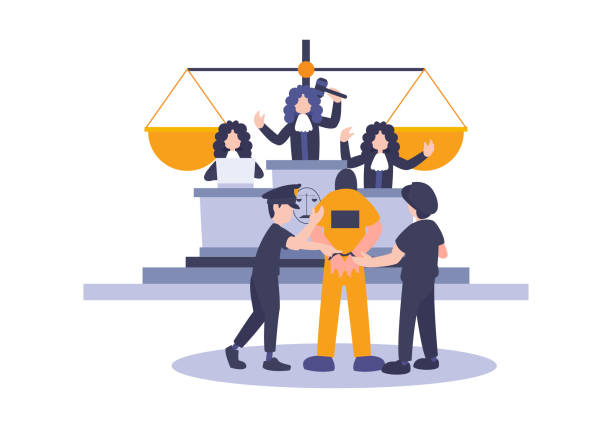 Law and Justice Concept with Characters and Judicial Elements, prisoner, Gavel, and Lawyer. Vector flat elements of judgment and court jury people. Idea concept of advocate and the judge. Law and Justice Concept with Characters and Judicial Elements, prisoner, Gavel, and Lawyer. Vector flat elements of judgment and court jury people. Idea concept of advocate and the judge. innocence stock illustrations