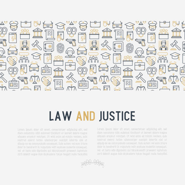 law and justice concept with thin line icons: judge, policeman, lawyer, fingerprint, jury, agreement, witness, scales. vector illustration for banner, web page, print media. - lawyer stock illustrations, clip art, cartoons, & icons