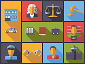 Horizontal flat design long shadow illustration with law and criminal justice symbols