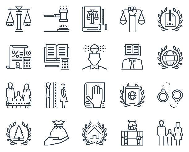 illustrazioni stock, clip art, cartoni animati e icone di tendenza di gruppo di icone di legge e giustizia - divorzio