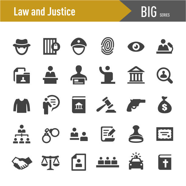 Law and Justice Icons - Big Series Law, Justice, crime scene stock illustrations