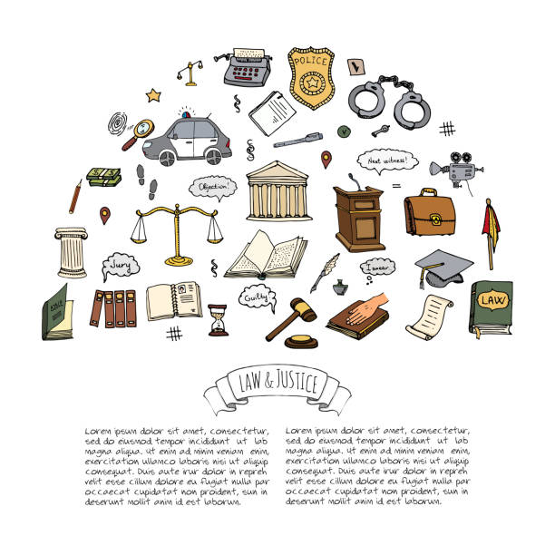 Law and Justice icons set vector art illustration