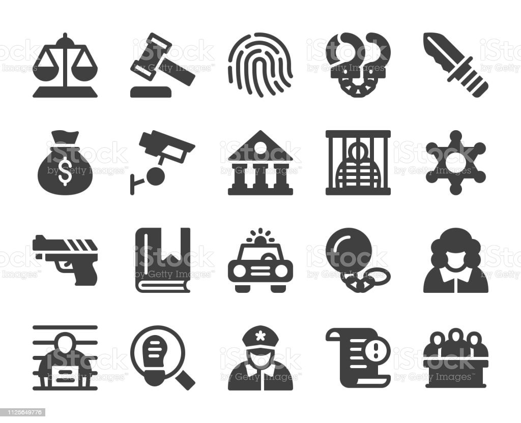 Law and Justice - Icons vector art illustration