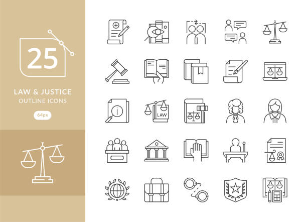 Law and Justice icons Law and Justice icons. Law and justice icon set suitable for info graphics, websites and print media. Modern thin line icons of law and lawyer service courthouse stock illustrations