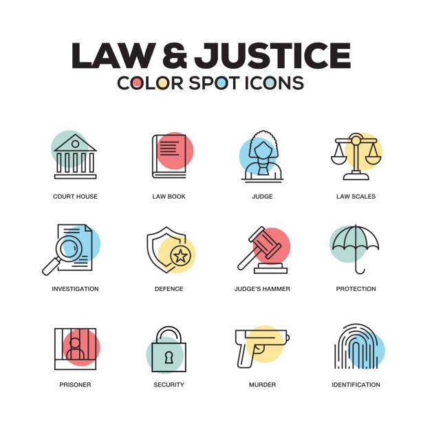 法と正義のアイコン。ベクター線のアイコンを設定します。プレミアム品質。モダンなアウトライン シンボルとピクトグラム。 - 弁護士点のイラスト素材/クリップアート素材/マンガ素材/アイコン素材