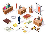 Law justice isometric icon set, vector illustration. Legal trial and juridical symbols judge, jury, defendant, lawyer, policeman, Law book, Bible, scales of justice, gavel, handcuffs, crime evidences.