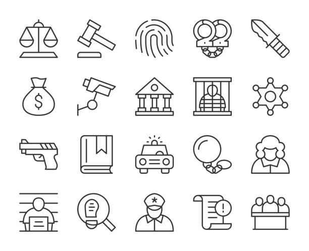 recht und gerechtigkeit-ikonen der lichtlinie - abgeordnetenhaus stock-grafiken, -clipart, -cartoons und -symbole