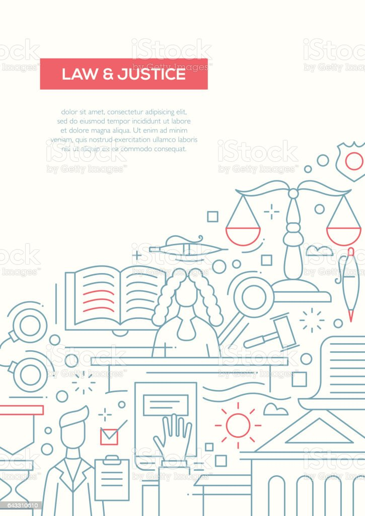 Law and Justice - line design brochure poster template A4 vector art illustration