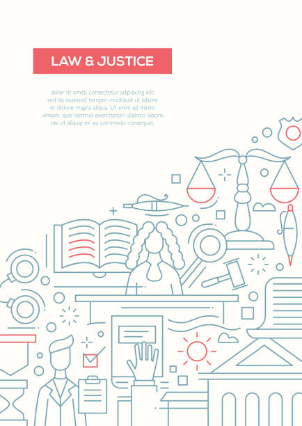 law and justice - line design brochure poster template a4 - lawyer stock illustrations, clip art, cartoons, & icons