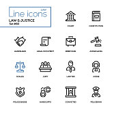Law and justice - line design icons set