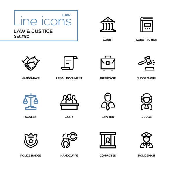 recht und gerechtigkeit - set linie design-ikonen - anwalt stock-grafiken, -clipart, -cartoons und -symbole