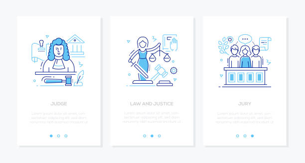 Law and justice - line design style banners set vector art illustration