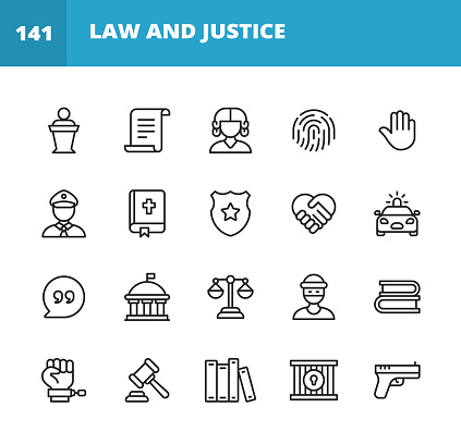 20 Law and Justice Outline Icons. Law, Justice, Judge, Trial, Document, Agreement, Thief, Police, Fingerprint, Human Hand, Bible, Constitution, Shield, Police Shield, Handshake, Police Car, Text Messaging, Quote, Testimony, Evidence, Crime, Compliance, Government, Contract, Prison, Equality, Legal System, Gun.
