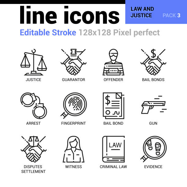 Law and Justice line icons - Editable Stroke, Pixel perfect thin line vector icons for web design and website application. Suitable for print, symbols, apps, infographics. vector art illustration