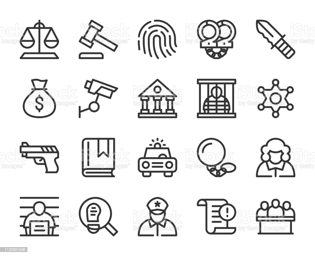 Law and Justice - Line Icons vector art illustration