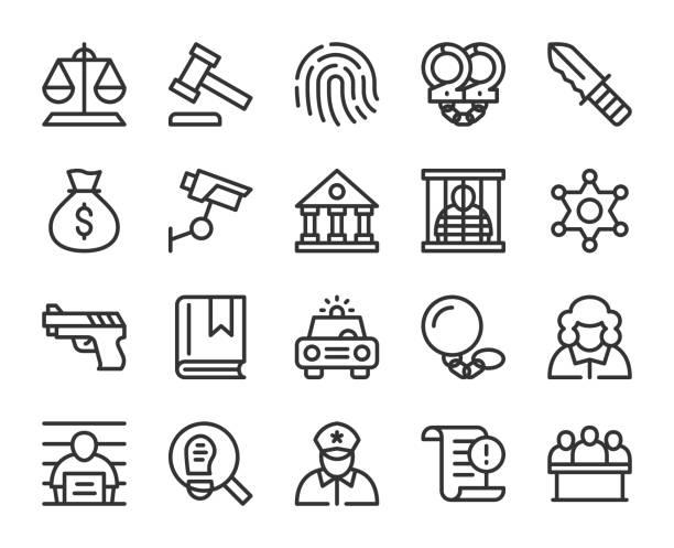recht und gerechtigkeit - linie symbole - abgeordnetenhaus stock-grafiken, -clipart, -cartoons und -symbole
