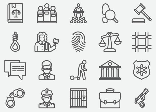 Law and Justice Line Icons Law and Justice Line Icons judge law stock illustrations