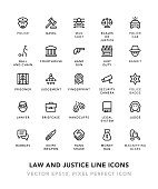 Law and Justice Line Icons Vector EPS 10 File, Pixel Perfect Icons.