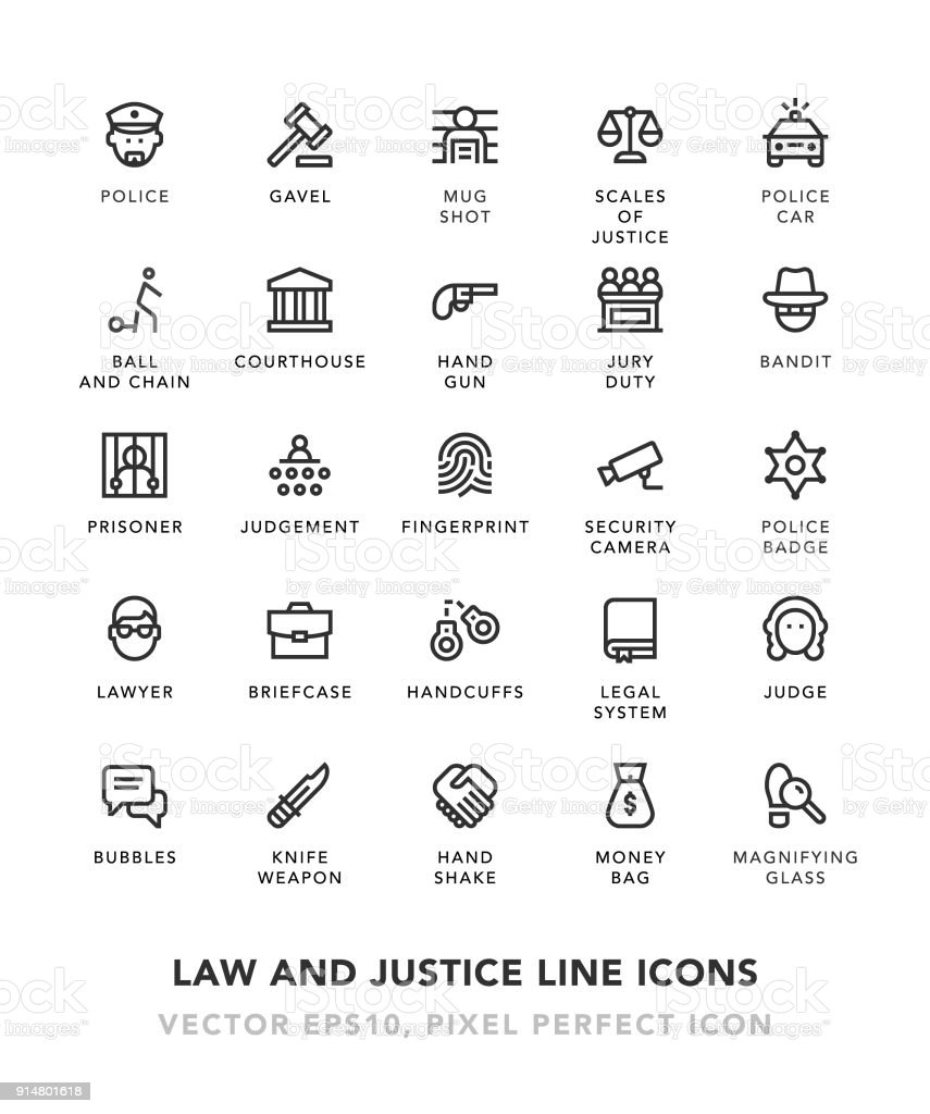 Recht und Gerechtigkeit Linie Symbole – Vektorgrafik