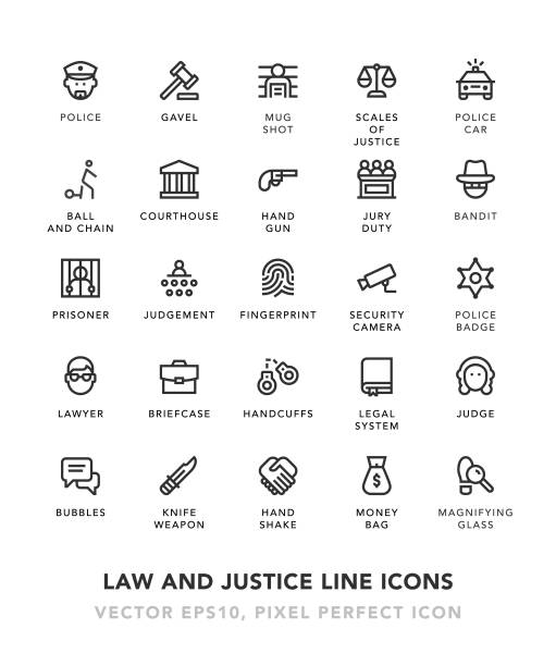 law and justice line icons - lawyer stock illustrations, clip art, cartoons, & icons