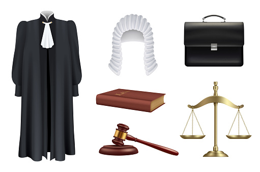 Law and justice. Right judge wooden hammer court decision prosecutor hairpiece black robes decent vector realistic set isolated
