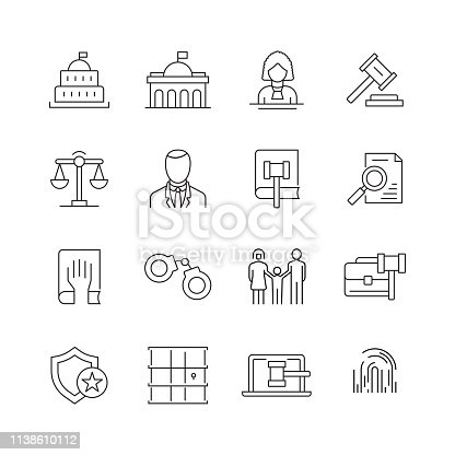 Law and Justice - Set of Thin Line Vector Icons