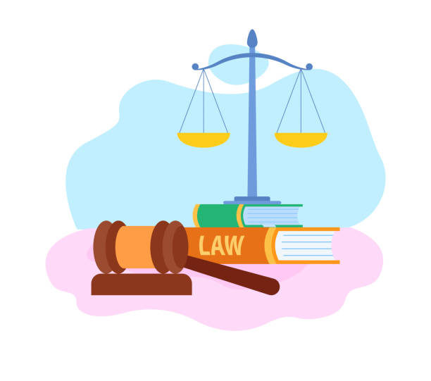 Law and Justice Symbols Flat Vector Illustration Law and Justice Symbols Flat Vector Illustration. Judge Wooden Gavel, Scales Cartoon Illustration. Judicial System. Lawyer School, Faculty. Civil Rights. Books, Textbooks Piles and Reports Stack civil rights stock illustrations