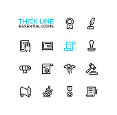 Law and Justice - Thick Single Line Icons Set