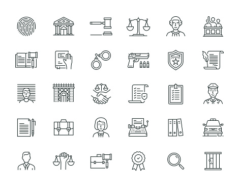 Law And Justice Thin Line Icon Set Series