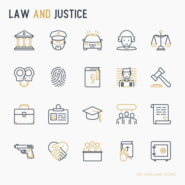 Law and justice thin line icons set: judge, policeman, lawyer, fingerprint, jury, agreement, witness, scales. Vector illustration. vector art illustration
