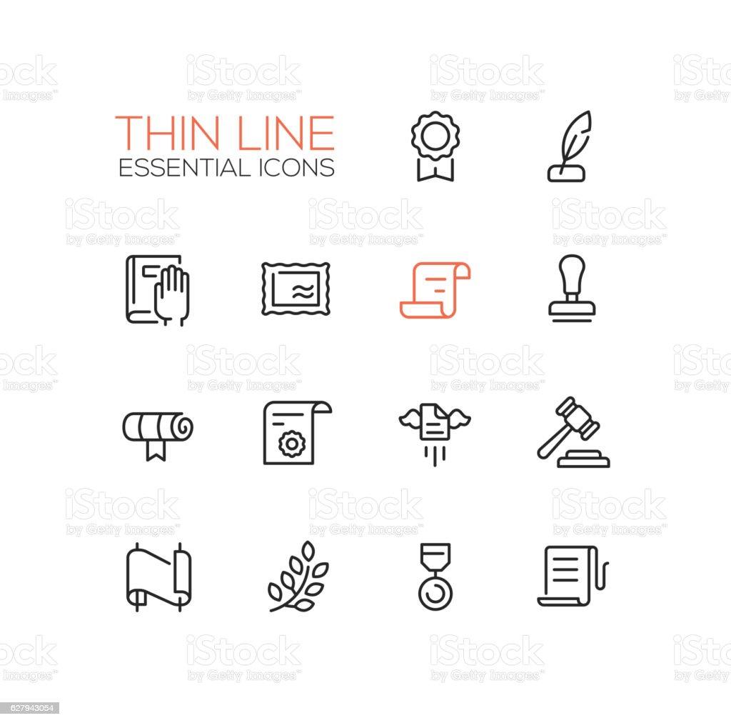 Law and Justice - Thin Line Icons Set – Vektorgrafik