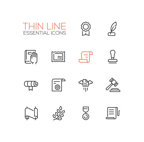 stockillustraties, clipart, cartoons en iconen met law and justice - thin line icons set - swearing